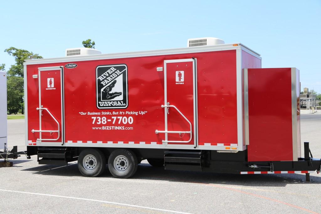 large portable restroom trailer