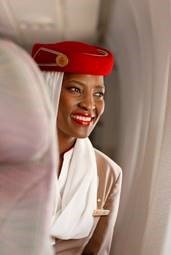 An Emirates Female Cabin Crew