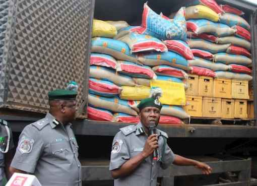 600 Bags Of Smuggled Rice Discovered In Dangote Truck