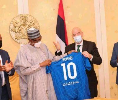 Buhari Hosts FIFA And CAF Presidents In Aso Villa