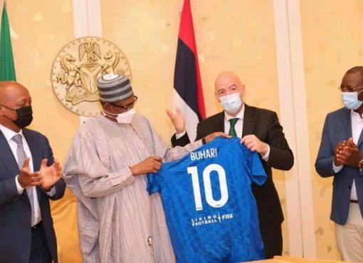 PHOTOS: Buhari Hosts FIFA And CAF Presidents In Aso Villa