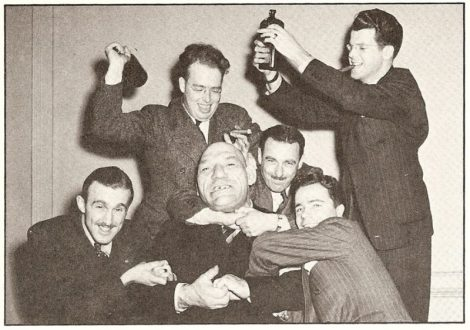 French Angel and Canadian writers l. to r. Ralph Allen, Johnny Fitzgerald, Joe Perlove, and Hal Walker.  Frank Tunney.
