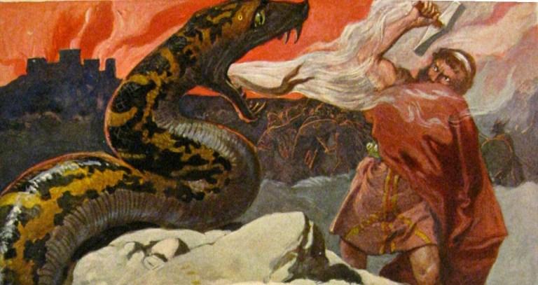 Thor combattant Jormungand, considéré comme l'un des dragons de la mythologie nordique
