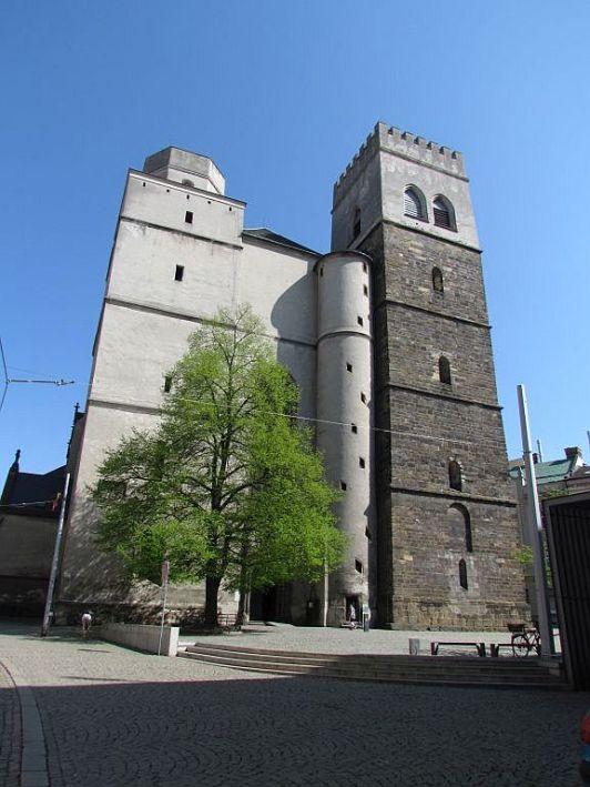 Kostol sv. Mořica, pohľad na vežu.
