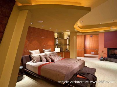 Arteriors Architecture - Modern Bedroom Design with Curved Ceiling by Architect Tim Bjella