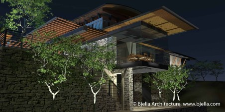Hilltop Modern Glass House Bjella Architects-19