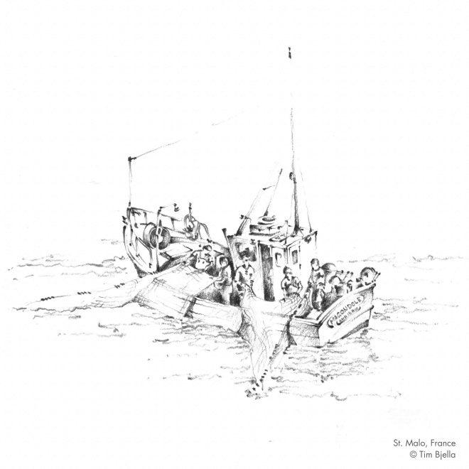 Tim Bjella Sketches - Fishing Boat at Saint Malo