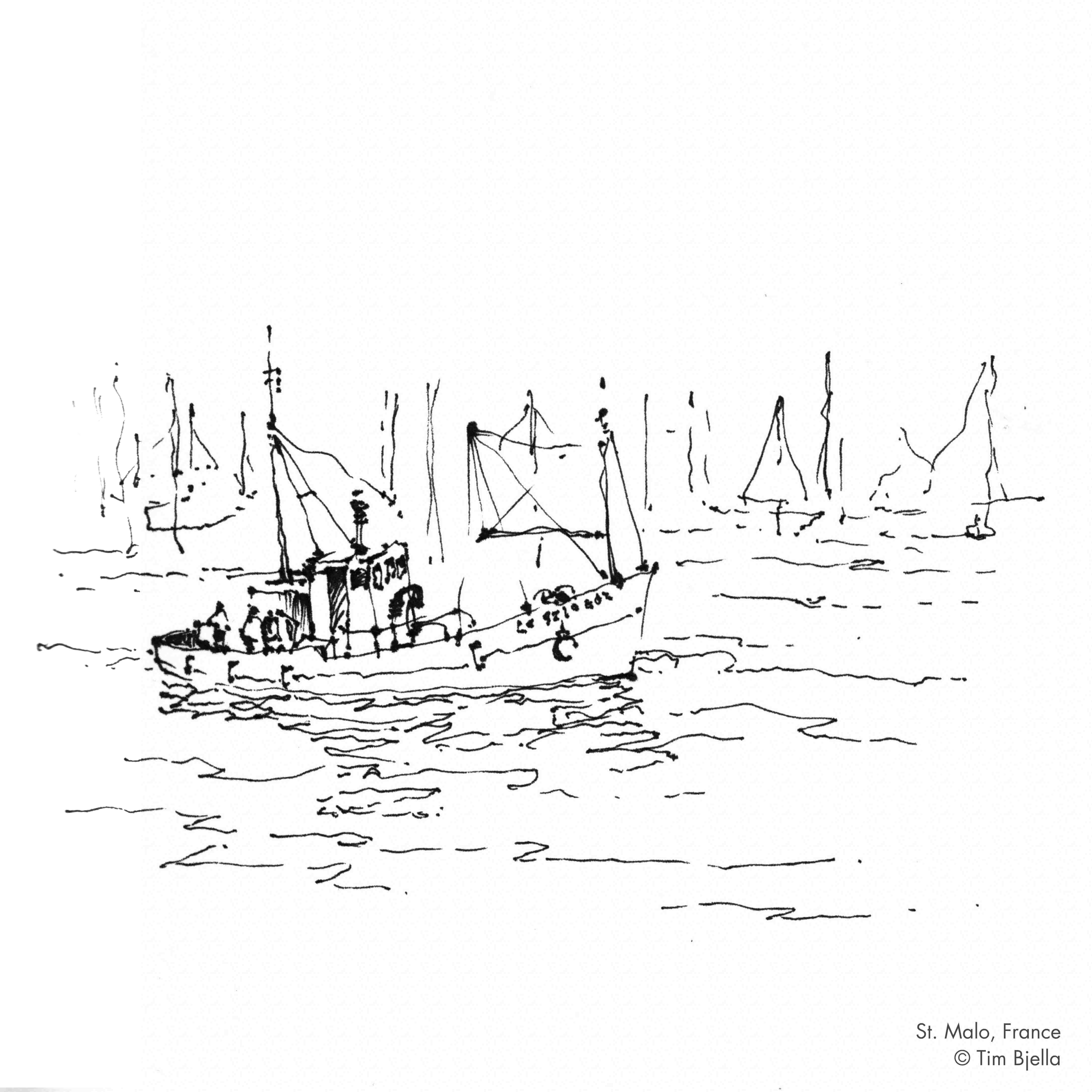 Tim Bjella Sketches - Saint Malo Fishing Boat