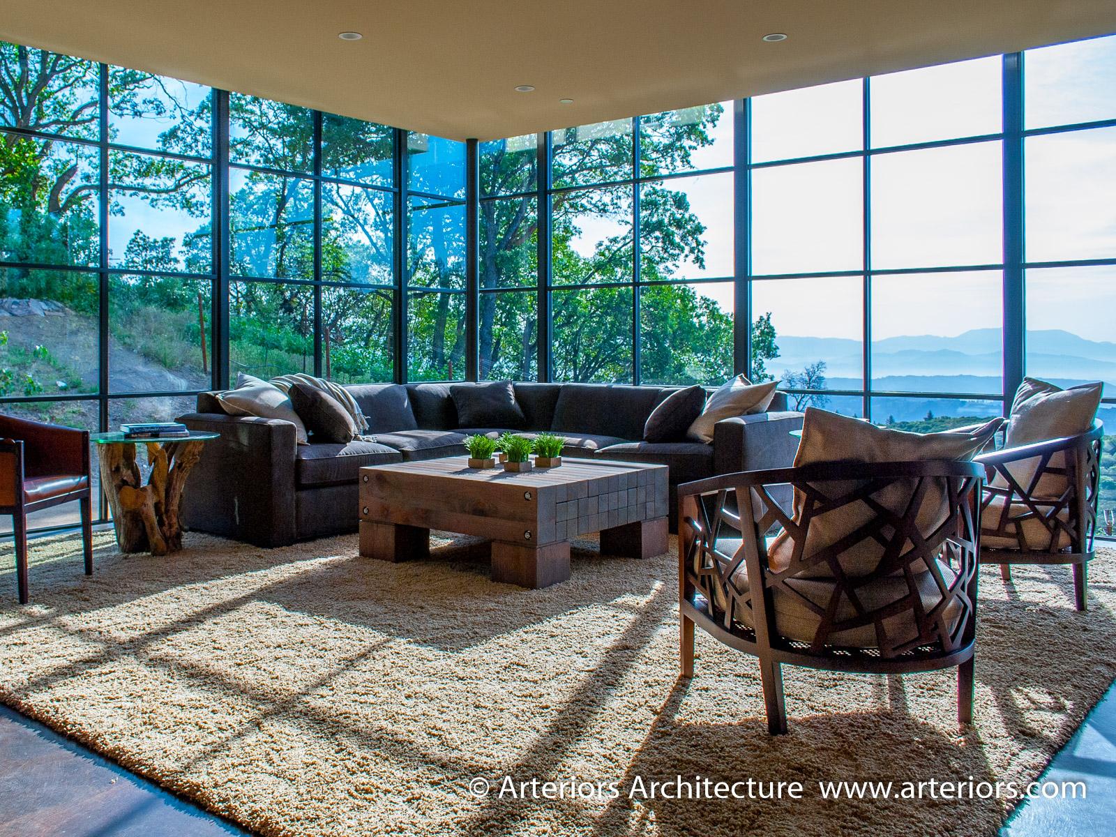 Modern Sonoma California Glass House on Vineyard - Living Room 1