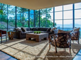 Modern Sonoma California Glass House on Vineyard - Living Room 1