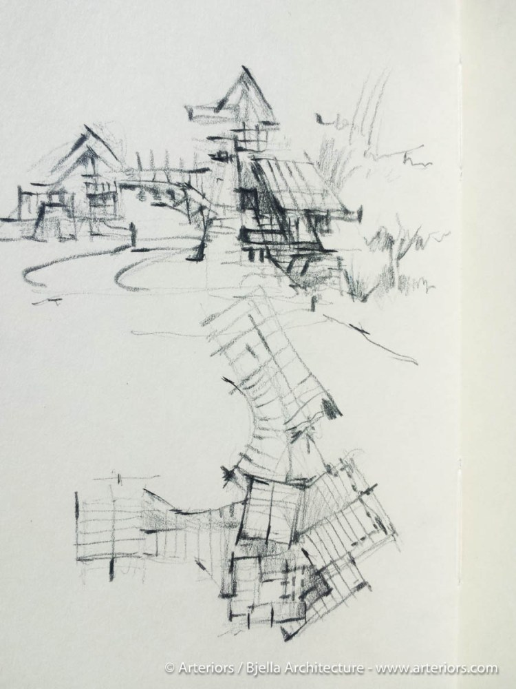 Concept sketch for a modern stone house - Yellowstone Club, Montana by Arteriors Architects