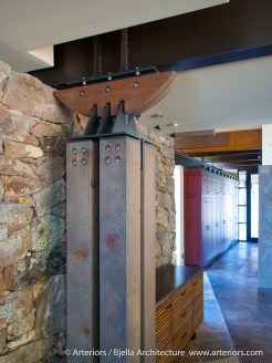 Custom heavy timber and steel column by Tim Bjella of Arteriors Architects