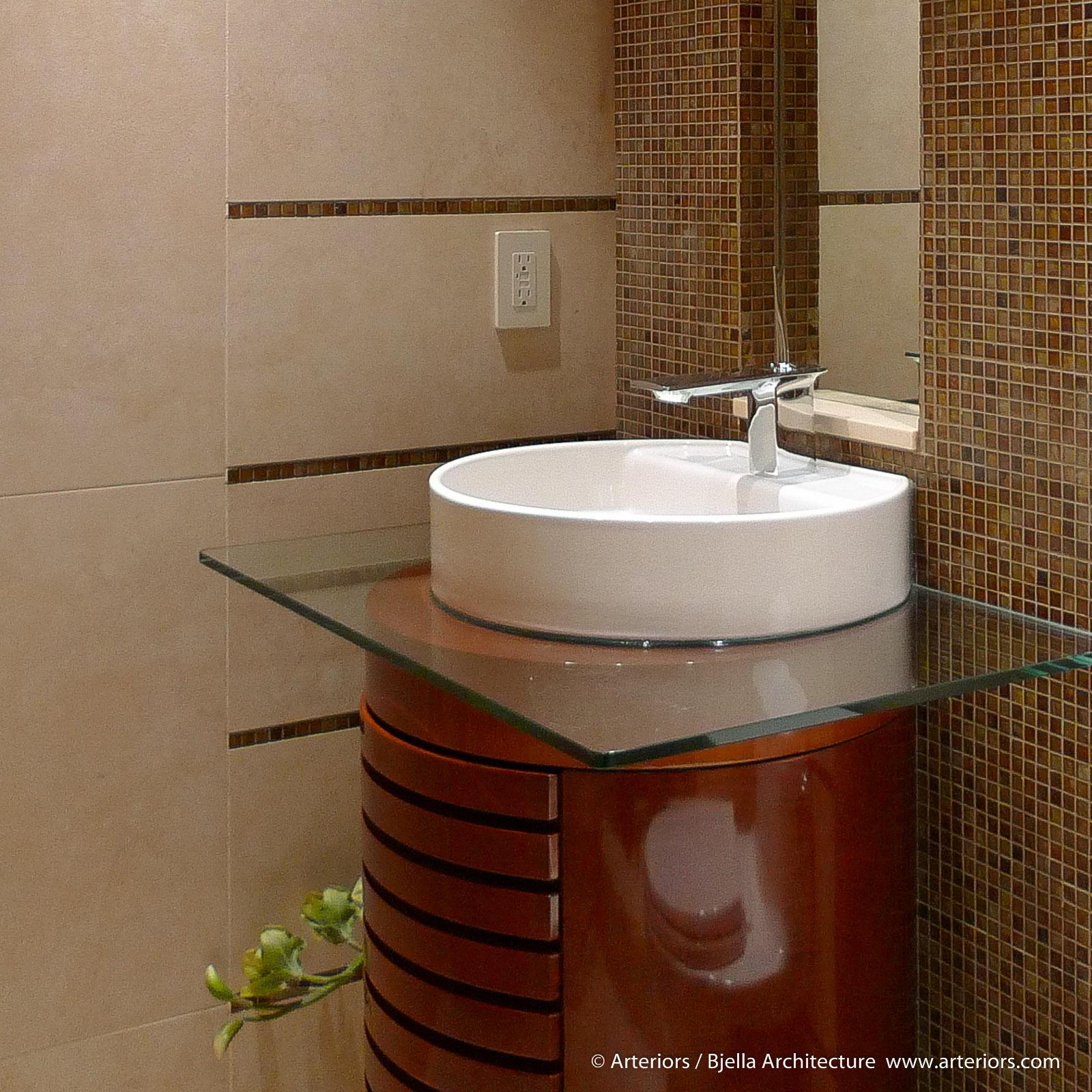 Tiny Round Cylinder Bathroom Vanity by Tim Bjella of Arteriors Architects-2