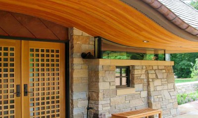 Bjella-Architects-Modern-Home-Front-Entry-with-Curved-Roof