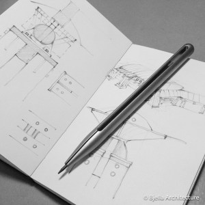 Bjella Architects Pencil Sketch of modern house design details