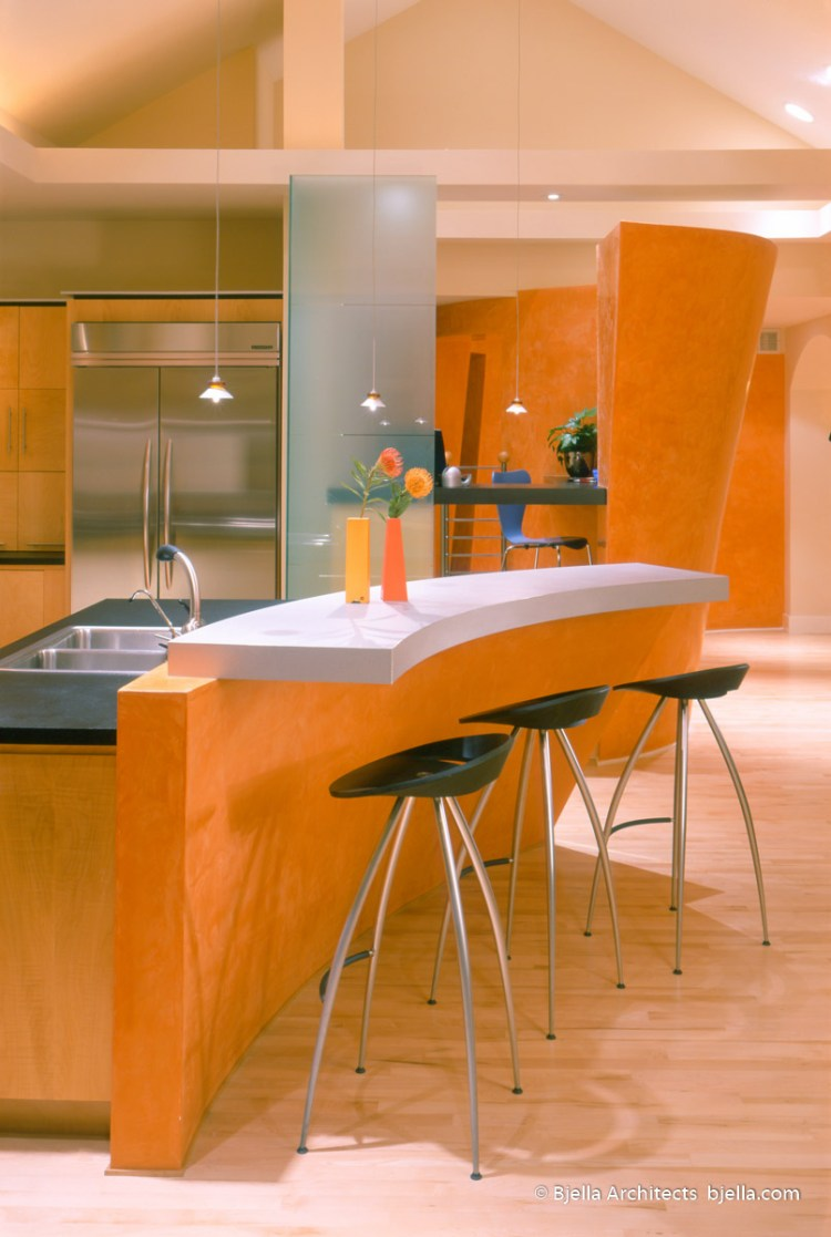 Lively Modern Orange Kitchen Los Angeles