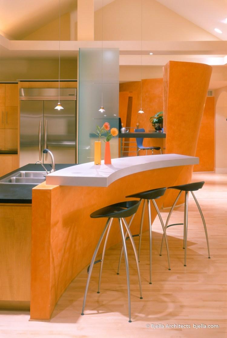 Lively Modern Orange Kitchen Los Angeles