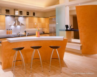 Lively Modern Orange Kitchen with Curves