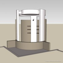 Computer model of cylindrical shower in a modern bathroom