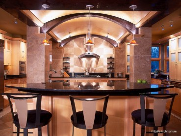 Modern Kitchen with Arched Wood Ceiling