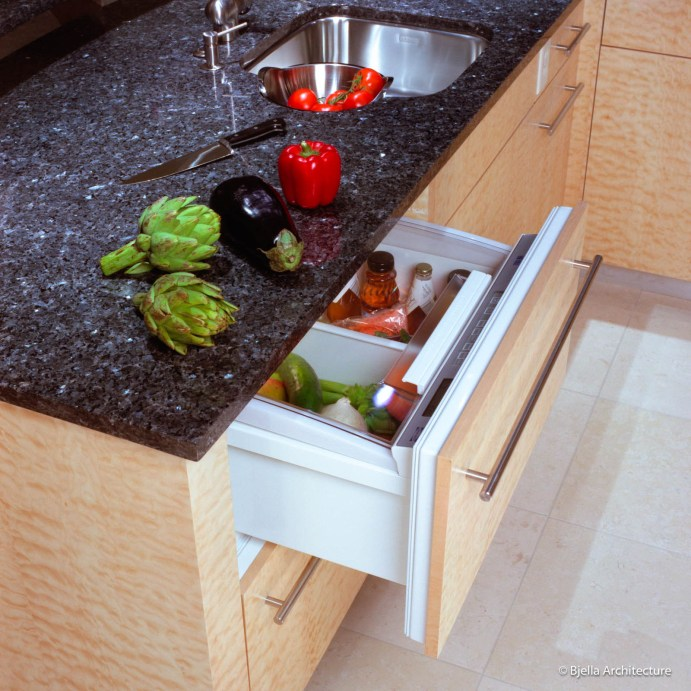 Refrigerator Drawer in Modern Curly Maple Kitchen Cabinets