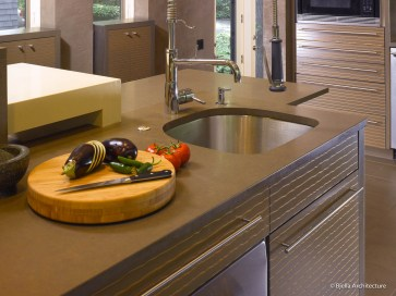 Modern Gray Wavy Banded Kitchen Cabinets