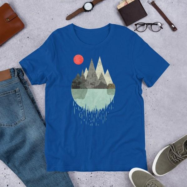 T-Shirt Geometric Graphic design - Mountains Lake Sun 7