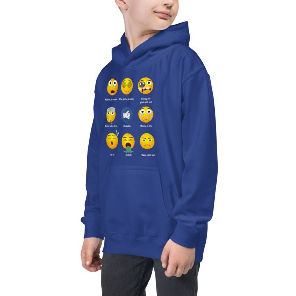 Youth/Kids BJJ Hoodie – Brazillian Jiu-Jitsu 9 Shades Emoji Emoticons 6