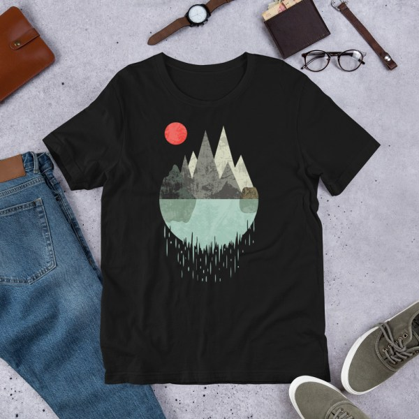 T-Shirt Geometric Graphic design - Mountains Lake Sun 1