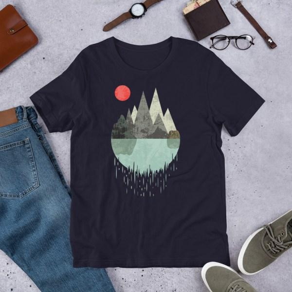 T-Shirt Geometric Graphic design - Mountains Lake Sun 5