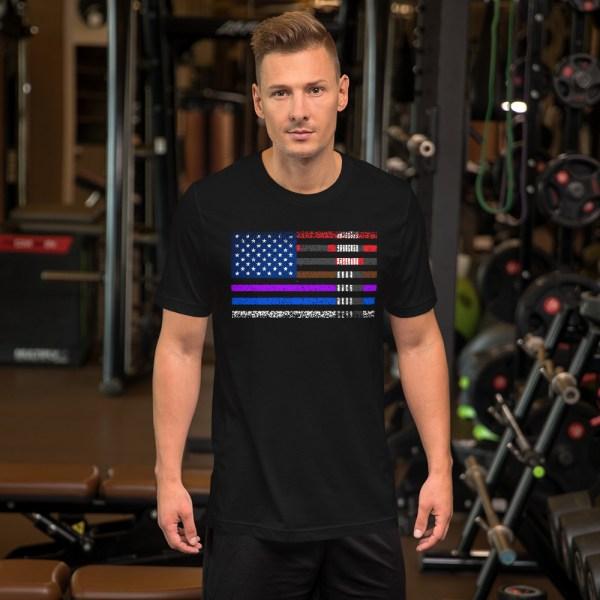 BJJ T-Shirt  for men - BJJ belts and stripes in American Flag 3