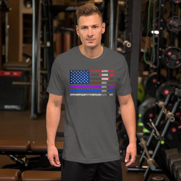 BJJ T-Shirt  for men - BJJ belts and stripes in American Flag 1