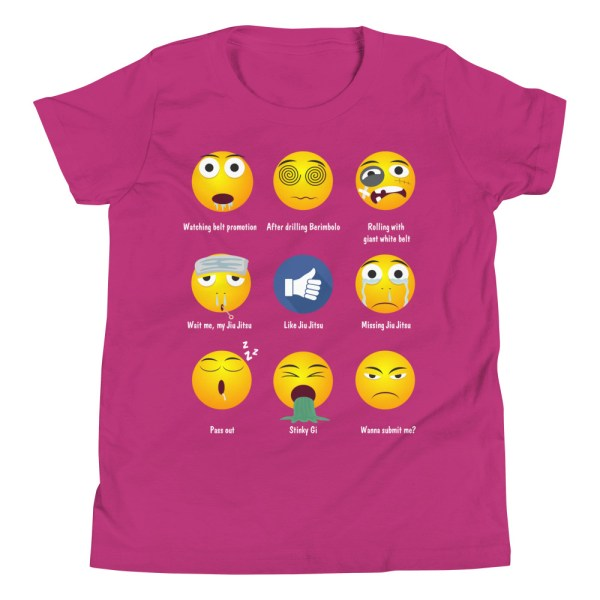 Youth/Kid BJJ T-Shirt - Brazillian Jiu-jitsu 9 Shades Emoji Emoticons 6