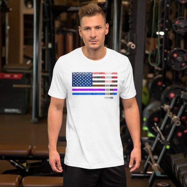 BJJ T-Shirt  for men - BJJ belts and stripes in American Flag 2