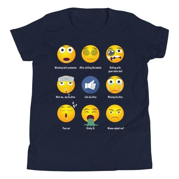 Youth/Kid BJJ T-Shirt - Brazillian Jiu-jitsu 9 Shades Emoji Emoticons 2