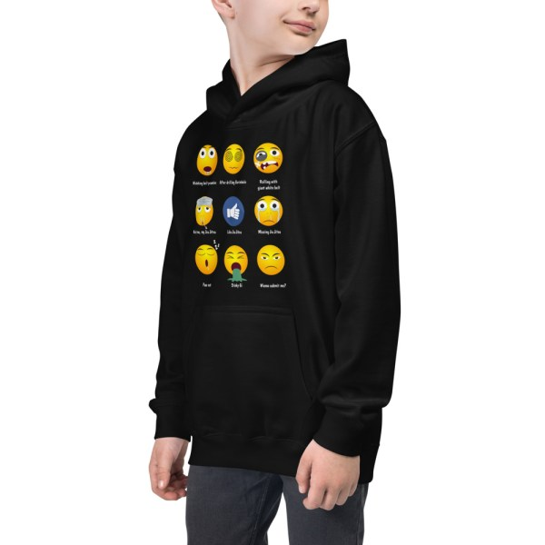 Youth/Kids BJJ Hoodie – Brazillian Jiu-Jitsu 9 Shades Emoji Emoticons 3