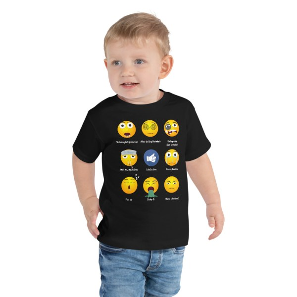 BJJ Toddler Short Sleeve Tee for baby Brazillian Jiu-Jitsu 9 Shades Emoji Emoticons 1