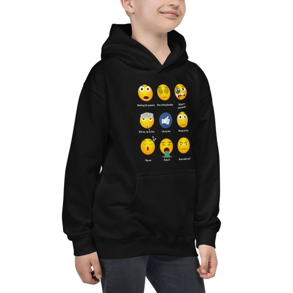 Youth/Kids BJJ Hoodie – Brazillian Jiu-Jitsu 9 Shades Emoji Emoticons 2
