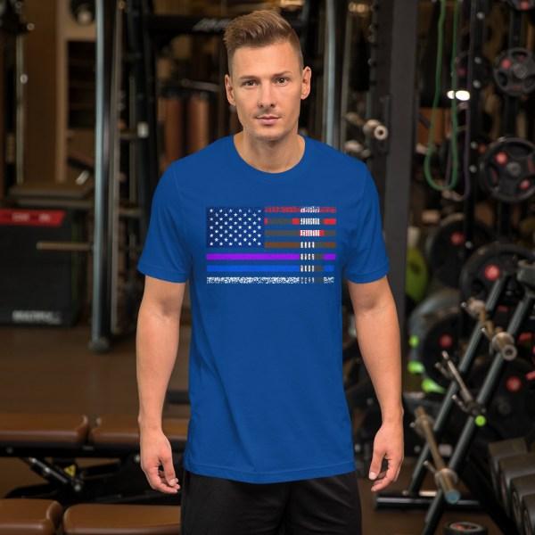 BJJ T-Shirt  for men - BJJ belts and stripes in American Flag 6