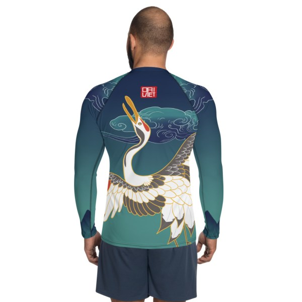 BJJ Men's Rash Guard - White Crane fly to cloud in Japanese Culture 2