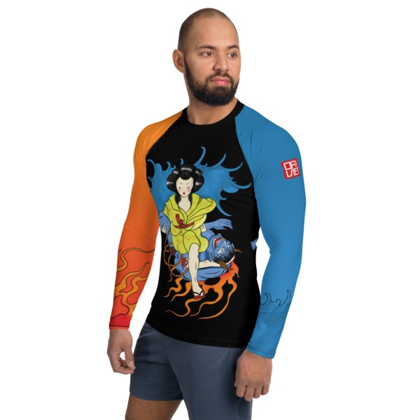 BJJ Men's Rash Guard Geisha Triangle Lock Submission Ancient Japanese Style 3