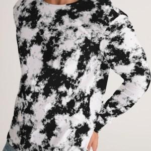 Op Art Grunge Dye Print Black White Men's Long Sleeve Shirt