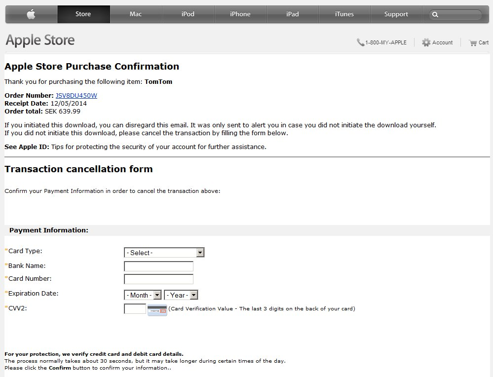 Apple Store Purchase Confirmation