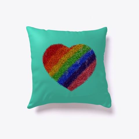 Pride Rainbow Glitter Throw Pillow