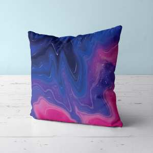 Blue and Pink Throw Pillow