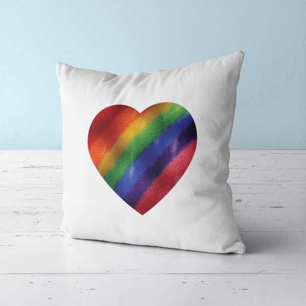 Pride Metallic Heart Throw Pillow