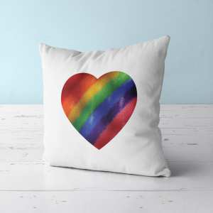 Pride Metallic Heart Throw Pillow