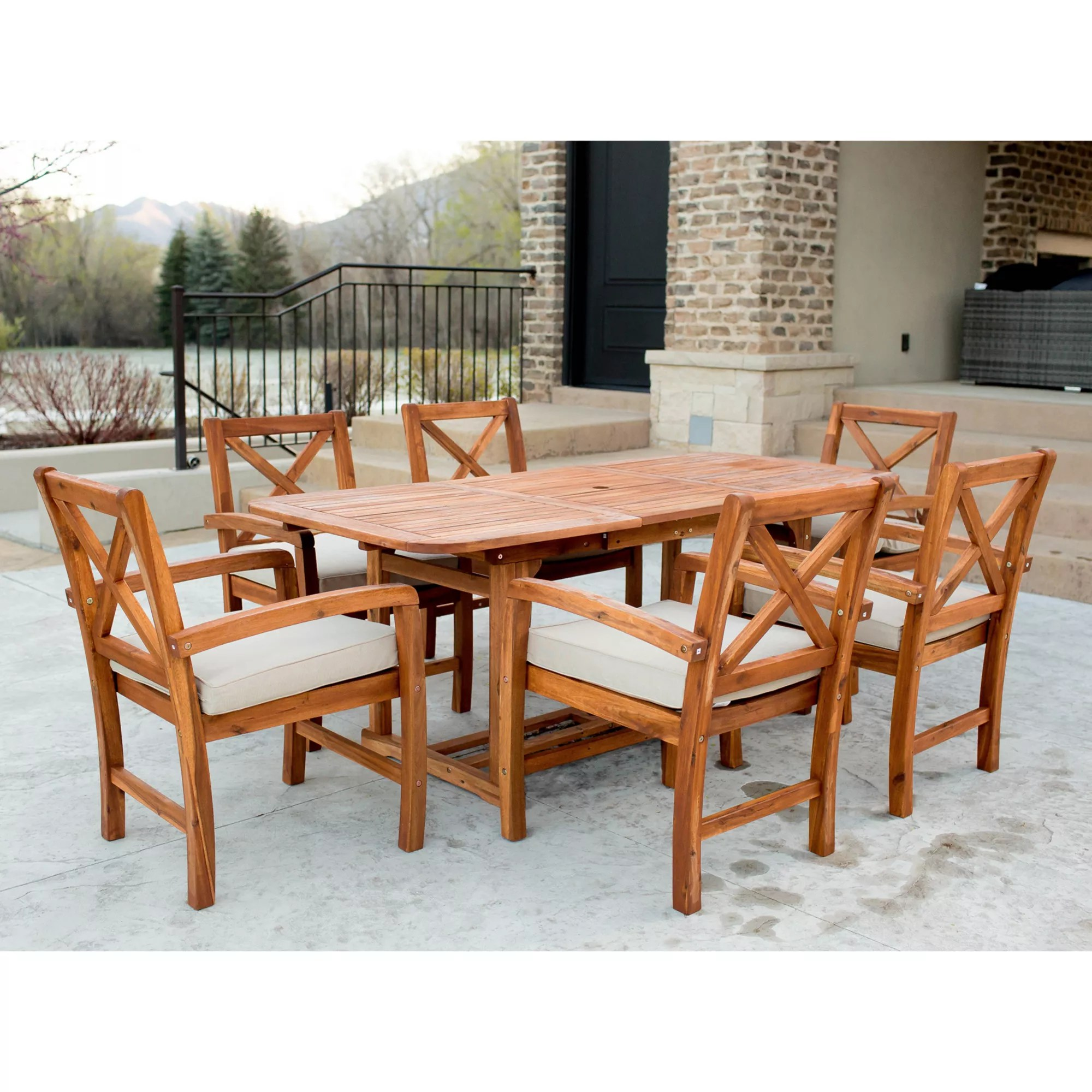 w trends acacia x back 7 pc patio dining set brown