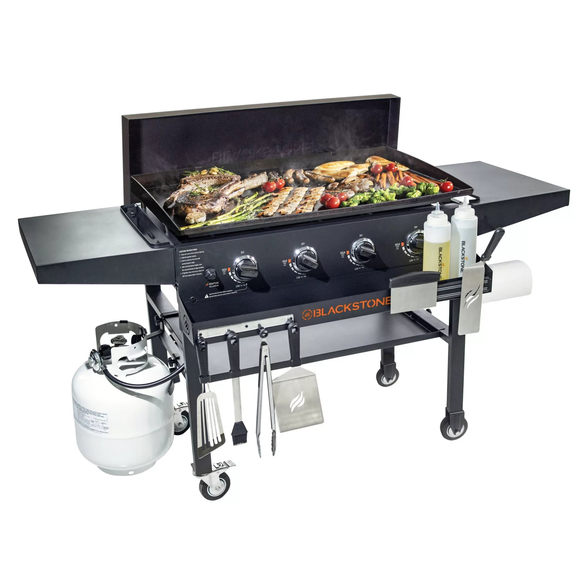 blackstone 36 gas griddle with hard cover and front shelf