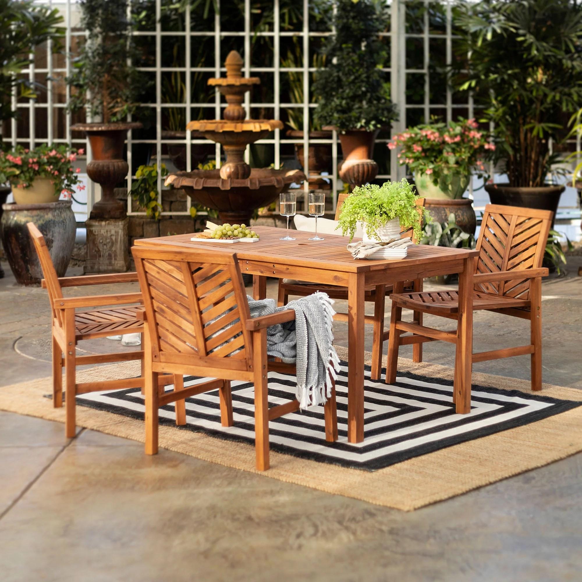 w trends 5 pc patio acacia dining set